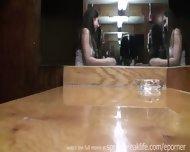 Brunette Flashes In Bar Then Pees - scene 12