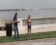 Blonde Girl Public Flashing - scene 12