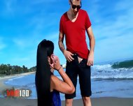 Brunette With Small Tits Gets Fucked On The Beach - scene 3