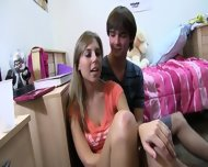 Two Blonde Girls Enjoying Coitus On Bed - scene 6