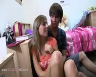 Two Blonde Girls Enjoying Coitus On Bed - scene 7
