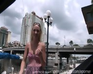 Cute Blonde Flashes Downtown - scene 7