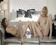 Blondie And Brunette Beauty In Silver - scene 11