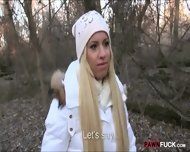 Cute Amateur Blonde Euro Slut Drilled In The Woods - scene 9