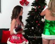 Two Crazy Hot Lesbian Santa Helpers - scene 1