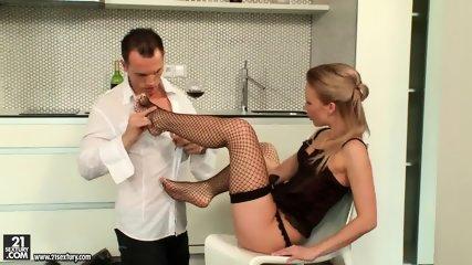 Fishnets On Amazing Blonde's Legs - scene 2