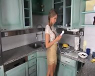 Self Preasuring With Vibrators On The Kitchen - scene 3