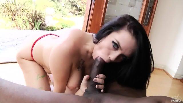 Sexy Brunette Sucks Black Dong