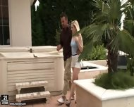 Lovely Blonde Rides Stiff Dick On Sofa - scene 1