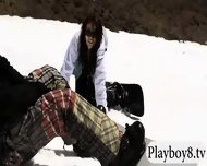 Busty Hot Babes Enjoyed Snow Boarding And Frisky Fishing - scene 5