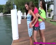 Teen Lesbian Beauties Outdoor Make Out - scene 7