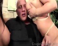 Trio Of Big Stacked Cougars Devour A Massive Prick - scene 1