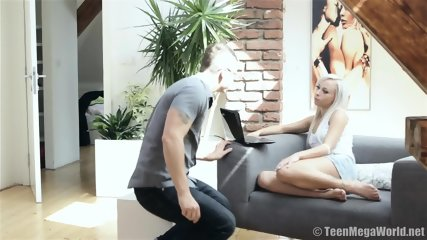 On Small Sofa With Horny Blonde - scene 1
