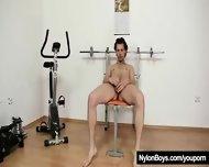 Naughty Big Dick Male Wears Fancy Pantyhose - scene 2