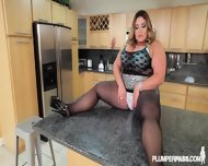 Fat Lady With Pantyhose Gets Banged On Countertop - scene 1