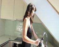 Super Sexy Brunett In The Kitchen - scene 2