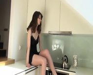 Super Sexy Brunett In The Kitchen - scene 3