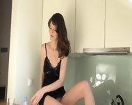 Super Sexy Brunett In The Kitchen - scene 4