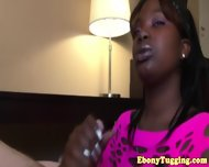 Black Ebony Hottie Strokes White Dick - scene 5