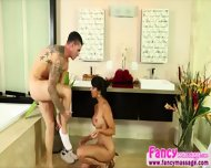 Big Tits Brunette Mercedes Gets Hammered In The Shower Room By Clover - scene 4