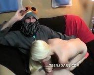 Petite Blonde Teen Girlfriend Party Oral - scene 3