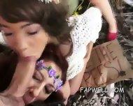 Three Hippie Girls Suck One Cock - scene 1