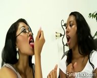 Ebony Mom Teaches Her Young Stepdaughter How To Blow A Black Cock - scene 5