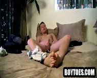Stud Shows His Feet And Tugs On His Cock In Bed - scene 3