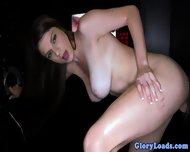 Gloryhole Loving Babe Handles Dick - scene 1