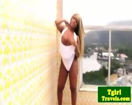 Tgirl Biana Ferraz Great Solo On Balcony - scene 1