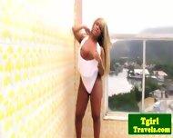Tgirl Biana Ferraz Great Solo On Balcony - scene 1