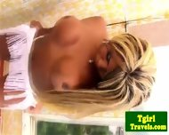 Tgirl Biana Ferraz Great Solo On Balcony - scene 2