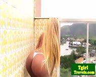 Tgirl Biana Ferraz Great Solo On Balcony - scene 4