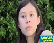 Cute Asian Ts Ren Rika Tugging Outdoors - scene 10