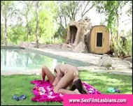 Teen Lesbians Making A Sex Tape Outdoors - scene 2