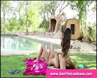 Teen Lesbians Making A Sex Tape Outdoors - scene 7