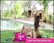 Teen Lesbians Making A Sex Tape Outdoors - scene 7