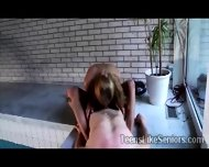 Horny Young Beauty Mounts A Lucky Old Man In The Pool Side - scene 5