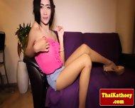 Skinny Thai Tgirl Ladyboy Tugs Her Dick - scene 1
