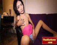 Skinny Thai Tgirl Ladyboy Tugs Her Dick - scene 4