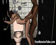 3d Brunette Fucked In The Bathroom By An Ebony Stud - scene 11