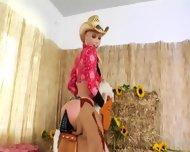 Brutal Bottom Threesome With Cowboy - scene 1