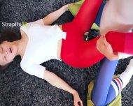 Amazing Lezzies In Pantyhose Enjoying Strap - scene 9