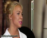 Blonde Masseuse Sprayed - scene 2