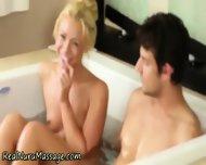 Blonde Masseuse Sprayed - scene 5