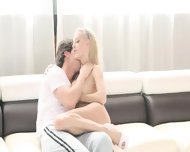 Luxury Blonde Fucking On White Bed - scene 3