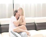 Luxury Blonde Fucking On White Bed - scene 3