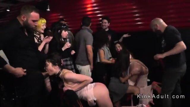 Hot brunette group bdsm fucked in public