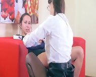 Two Sleek Girls Having Sex On Red Couch - scene 3