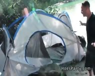 Two Amateur Babes Foursome Party Outdoor At Camping - scene 1